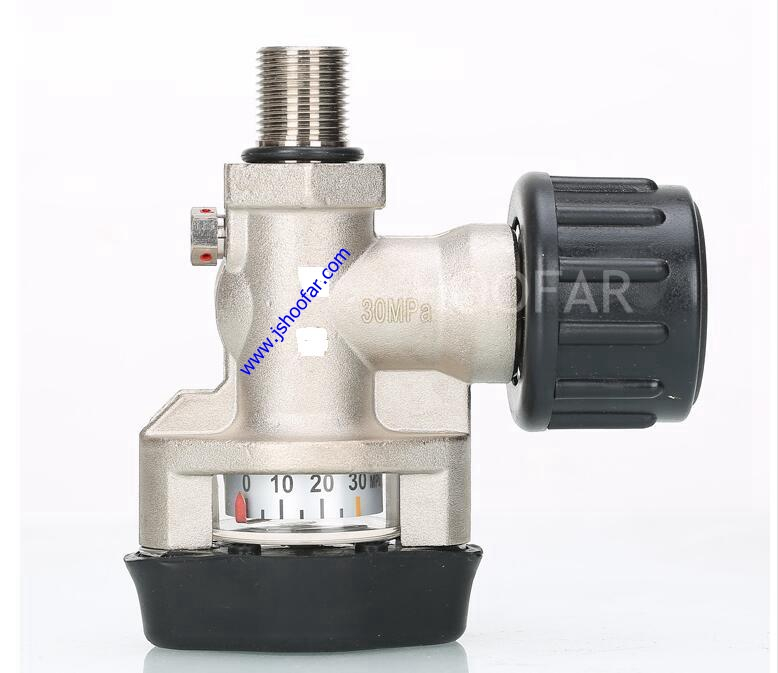 HF-VL-R01 Best Selling Carbon Fiber Gas Cylinder Tank black Valve with manometer
